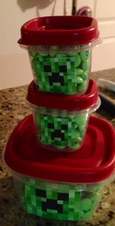 Party game idea, fill square tupperware with green m  Kids can guess how many creeps are inside the creeper for chance to win the filled container.  Attach a creeper face and match your party theme.  http://zimmermansix.blogspot.com/