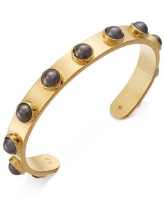 kate spade new york Gold-Tone Imitation Pearl Studded Cuff Bracelet