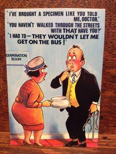 Saucy Seaside Postcard - Comic Series - Bamforth No. Funny Cartoon Pictures, Cartoon Jokes, Funny Cartoons, Funny Postcards, Vintage Postcards, One Liner, Holiday Postcards, Twisted Humor, Adult Humor