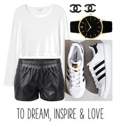 """B & W"" by linhluvsfashion ❤ liked on Polyvore featuring Ganni, Monki, adidas, Larsson & Jennings, Chanel and blackandwhite"