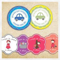 etiquetas personalizadas coches y caperucita