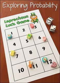 Leprechaun Luck Probability Game - Free math game for exploring basic probability concepts using this game board and Lucky Charms cereal.