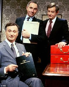 Yes, Minister's TV cast of (from left) Paul Eddington, Nigel Hawthorne and Derek Fowlds - great show! :)