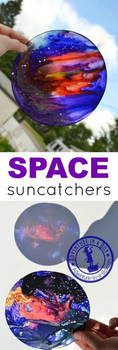 Make space sun-catchers from plastic plates or other clear plastic recyclables. Out-of-this-world craft for kids who are interested in space and the cosmos. Outer Space Activities for Kids Pebeo Vitrail, Stained Glass Suncatchers, To Infinity And Beyond, Mason Jar Crafts, Mason Jars, Summer Crafts, Art Plastique, Art For Kids, Outer Space Crafts For Kids