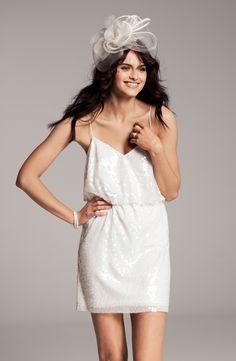 Aidan Mattox Sequin Overlay Blouson Minidress #wedding