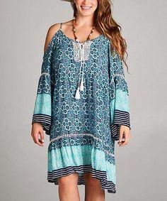 984d5fdc9 Green   Blue Geo-Print Shoulder Cutout Tunic Dress - Plus  zulily   zulilyfinds