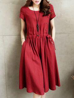 Burgundy manga corta sólido una línea de vestido casual