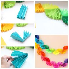 Paper Garland Idea Paper Garland I Flowers DIY Garland paper Paper Flowers Diy, Diy Paper, Paper Crafting, Tissue Paper, Paper Party Decorations, Birthday Decorations, Paper Garlands, Garden Decorations, Diy And Crafts