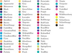 list of colors - Google Search