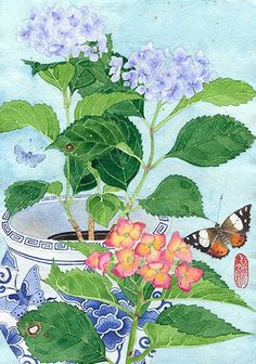 Hydrangeas:  watercolour digital print on by GabbyMalpas on Etsy