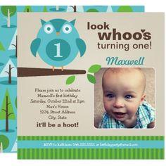 Boy's 1st Birthday Party Boy's Birthday Party Photo Invitation | Owl Theme