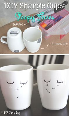 These adorable DIY sharpie cups were incredibly simple to make. Design sleepy sharpie cups for your own home or as a gift for a friend! @diyjustcuz