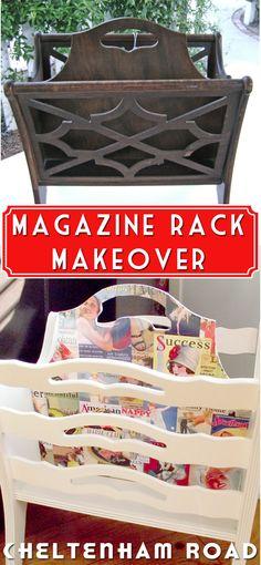 Thrift Store Magazine Rack Makeover