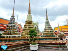 outside of reclining buddha you can see a lot of pagodas. :) #bangkok #thailand #LovethaiMaak It is a group of four huge pagodas