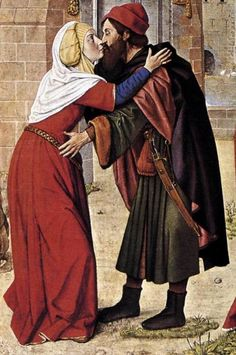 century (ca. France Jean Hey, Master of Moulins - Meeting of Anne and Joachim at the Golden Gate (detail) Medieval Costume, Medieval Dress, Medieval Clothing, 15th Century Fashion, 15th Century Clothing, Medieval Life, Medieval Art, Renaissance Fashion, Renaissance Art