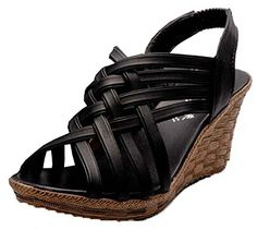 Xiuhong Shop Pendiente de estilo romano con sandalias tejer Sandalias casuales zapatillas