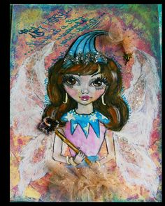 """""""I first made the background, first one with the Gelli Plate, it was kind of gummed up but I don't think my Art Fairy cared. I sketched her and did the watercolor crayon business on her and someacrylic paint. I don't think she wanted to be left forever without bling."""" - Annette"""