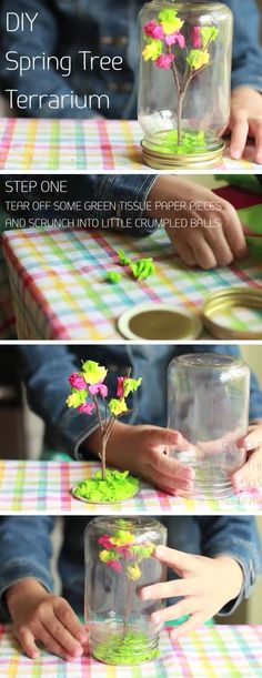 DIY Spring Terrarium | Easy Mothers Day Crafts for Kids to Make | DIY Birthday Gifts for Mom from Kids