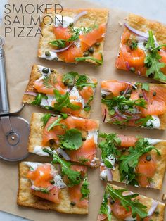 Smoked Salmon Pizza - on whole wheat naan or pita bread. Yum.