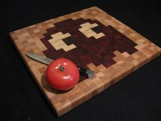 PacMan EndGrain Cutting Board  Blinky