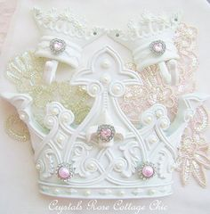 Shabby Chic Bed Crown Canopy Set Crown Wall Decor Crown Hooks Girls Room Fleur De Lis Pink Rhinestones Pink and White Pearls Pink Princess