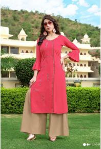 Wholesale Rayon Embroidered Event Wear Knee Length Kurti With Bottom Collection.Lkfabkart provides Indian ethnic wear in wholesale rates. Suits For Women, Women Wear, Beige Top, Fashion Catalogue, Indian Suits, Indian Ethnic Wear, Festival Wear, Pink Tops, Everyday Fashion