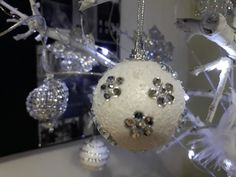 DIY Flower decor Christmas tree ornament from styrofoam ball and decorated with crystal stickers.