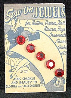 ButtonArtMuseum.com - Vintage Ruby Jeweled Button Sewing Card - gorgeous sew-on ruby red jewels