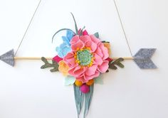 Felt flower arrow wall hanging sign floral arrow mobile от mellsva