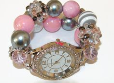 Pink and Grey Chunky Beaded Watch Beaded Watch by BeadsnTime