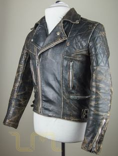 Vintage Motorcycle City Leather Biker Jacket With Patina image three