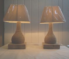 Pair of hessian rope lamps Base: 6.5in by 1.8in £28