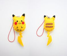 This is Handmade Pikachu plush keychain from The Pokemons series. ^^ The Pikachu plush is made of felt, everything is sewn with hand. The small parts are attached with hot glue. The tail is not very strong, so, you have to be carefull with it, thats why m trying to make it stronger with hot glue over the corners. The back is also designed like the real pikachu. Stuffed with polyfill. Feel free to choose pikachu smiling face ^^ Its about 7 cm long within ears and tail, and 2,5 cm wide. Usu...