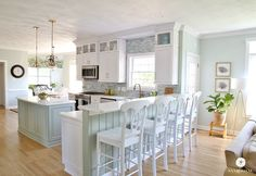 Coastal Kitchen Makeover- sherwin williams comfort gray and oyster bay paint