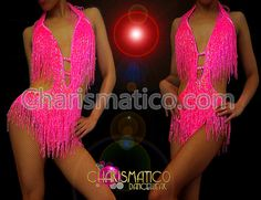 Charismatico Dancewear Store - CHARISMATICO Iridescent Bead fringe vibrant pink showgirl's sexy Latin dance leotard, $145.00 (http://www.charismatico-dancewear.com/products/Iridescent-Bead-fringe-vibrant-pink-showgirl's-sexy-Latin-dance-leotard.html/)
