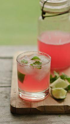 rhubarb lemon balm margarita