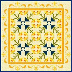 Interesting design by Denise Russart which creates rounded forms where the tulips meet at the quilt's center.