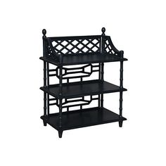 Console Manor Spindle Shelved  Console Table ($599) ❤ liked on Polyvore featuring home, furniture, tables, accent tables, black, black shelving, three tier shelf, mahogany console table, shelf table and black table