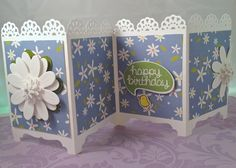 Perky Penny Papers Screen Card! Check it out at PerkyPennyPapers.com. Screen Cards, Window Cards, Corner Garden, Folded Cards, Dressers, Greeting Cards Handmade, Fences, Stampin Up Cards, Paper Crafting