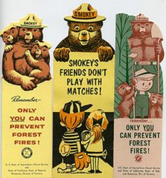 Vintage Smokey the Bear bookmarks