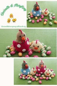Galline e pulcini amigurumi Hens and chicks amigurumi #gallina #galline #pulcino #pulcini #hens #chicken #chicks #amigurumi #crocheted #crochet #handmade #fattoamano #diy #uncinetto #pasqua  #easter #ideapasquale #ideapasqua #idea #ideas