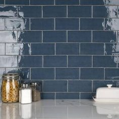 """Ivy Hill Tile Newport Polished 2"""" x 10"""" Ceramic Subway Tile & Reviews Blue Subway Tile, Ceramic Subway Tile, Subway Tile Kitchen, Blue Tiles, Blue Kitchen Tiles, Subway Tile Colors, Metro Tiles Kitchen, Dr Kitchen, Kitchen Wall Tiles"""