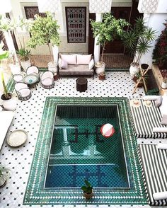 the most incredible courtyard EVER, Le Riad Yasmine Marrakech Moroccan Decor, Moroccan Style, Morrocan Interior, Moroccan Bedroom, Moroccan Lanterns, Patio Interior, Interior And Exterior, Outdoor Spaces, Outdoor Living