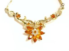 Vintage Coro Amber Rhinestone Flower Necklace, Floral Flower Choker, Gold Tone Metal