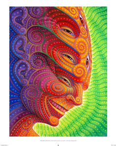 """We are excited to announce """"Shpongled"""", a new signed, numbered limited edition blotter art print by master painter Alex Grey. The edition size is 125 pieces. Prints are sold first come first served. Alex Grey, Alex Gray Art, Psychadelic Art, Acid Art, Black Light Posters, Psy Art, Visionary Art, Surreal Art, Psychedelic Art"""