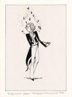 """""""Le Chef d'orchestre. Grazioso."""", Encre de Chine sur film rhodoïd, 18X24 cm, Série limitée à 100 exemplaires, 35€ (cadre noir, offert)"""