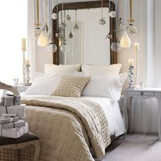 beige and white christmas tones in the bedroom