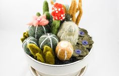 Felted Cactus Garden  White Glazed Pot Extra Large by OnceAgainSam, $85.00