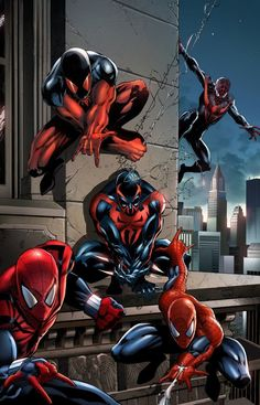 #Spiderman #Fan #Art. (Five Spidey's - Spiderman costumes) By: Jason Metcalf. (THE * 5 * STÅR * ÅWARD * OF: * AW YEAH, IT'S MAJOR ÅWESOMENESS!!!™)[THANK Ü 4 PINNING<·><]<©>ÅÅÅ+(OB4E)
