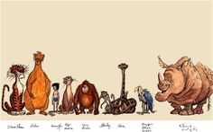Early sketches of characters from Disney's The Jungle Book, including the deleted Rocky the Rhino, far right
